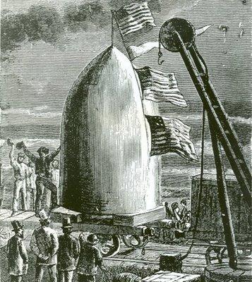 """Escena de la novela de J. Verne """"De la Tierra a La Luna"""""""